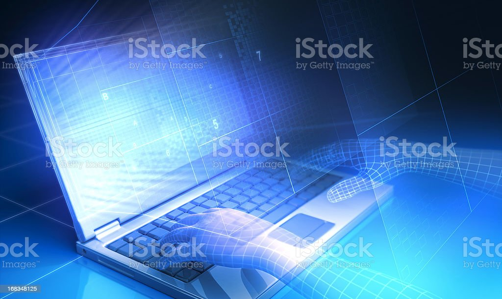 Laptop & Hands royalty-free stock photo