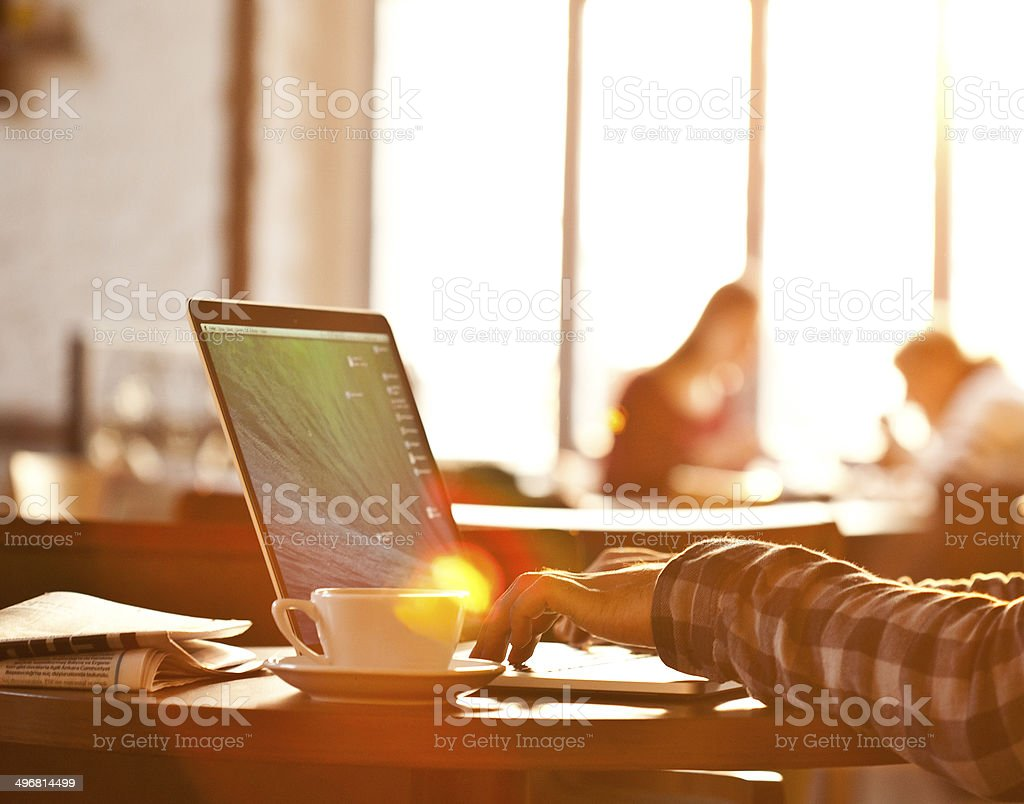 laptop, hands, sun light stock photo