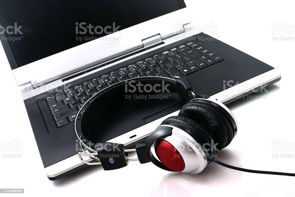 Laptop headphones royalty-free stock photo
