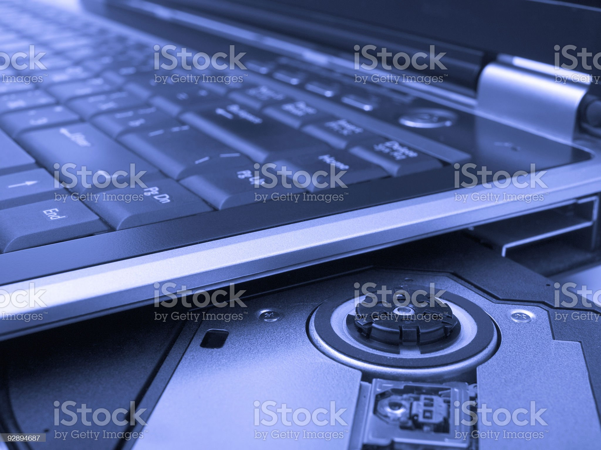 Laptop in blue tone royalty-free stock photo