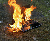 Laptop in flames