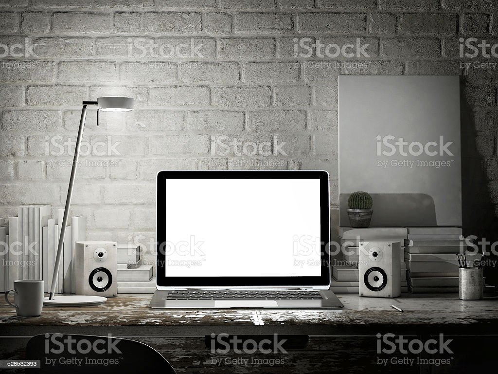 Laptop in night room, mock up background stock photo