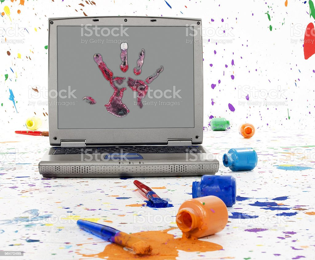 Laptop in Paint stock photo