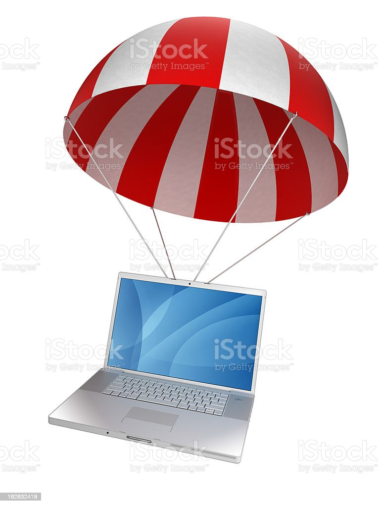 Laptop in parachute - isolated on white with clipping path royalty-free stock photo