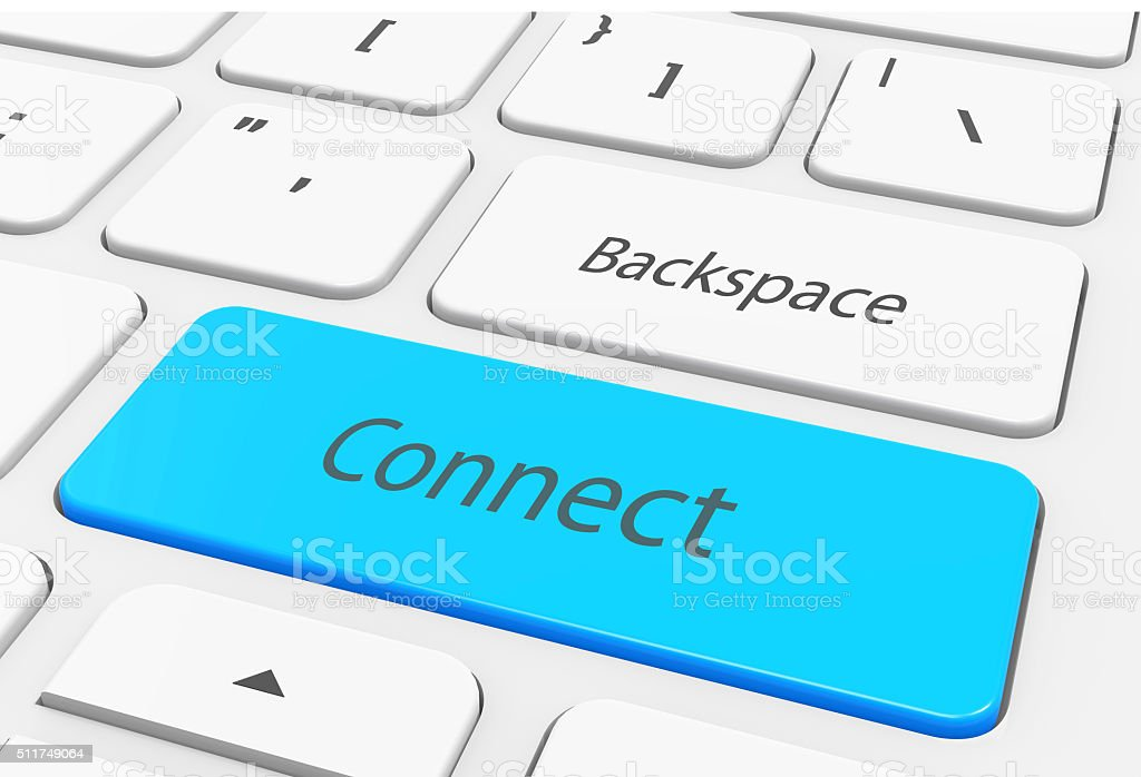 Laptop keyboard and blue key 'connect' on it stock photo
