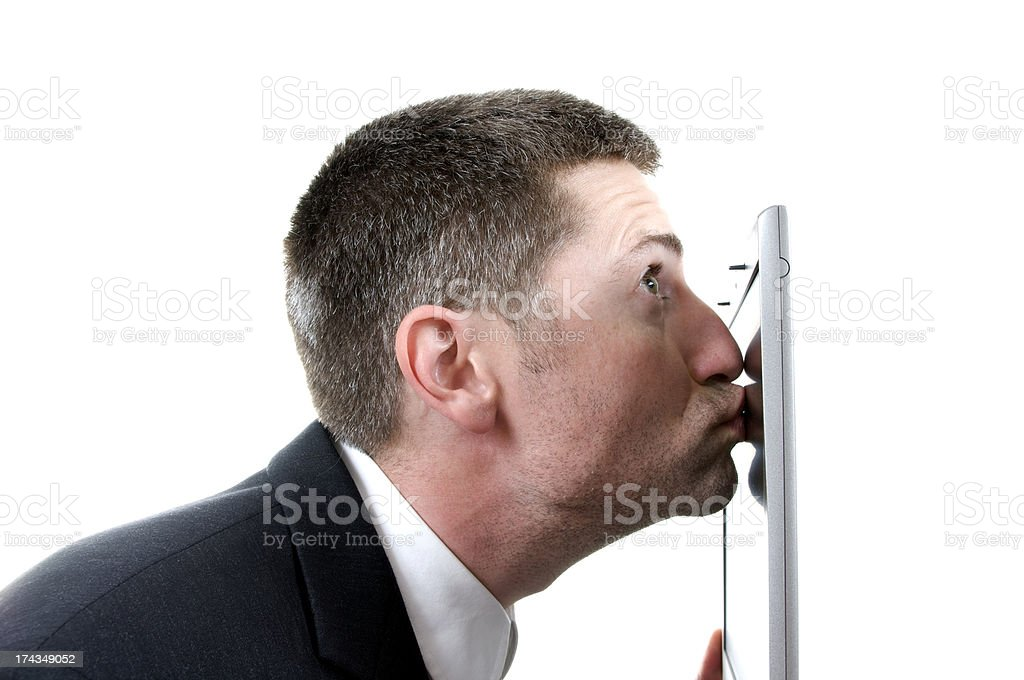 Laptop Kiss royalty-free stock photo
