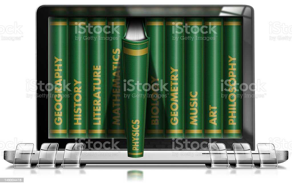 Laptop Library Concept royalty-free stock photo