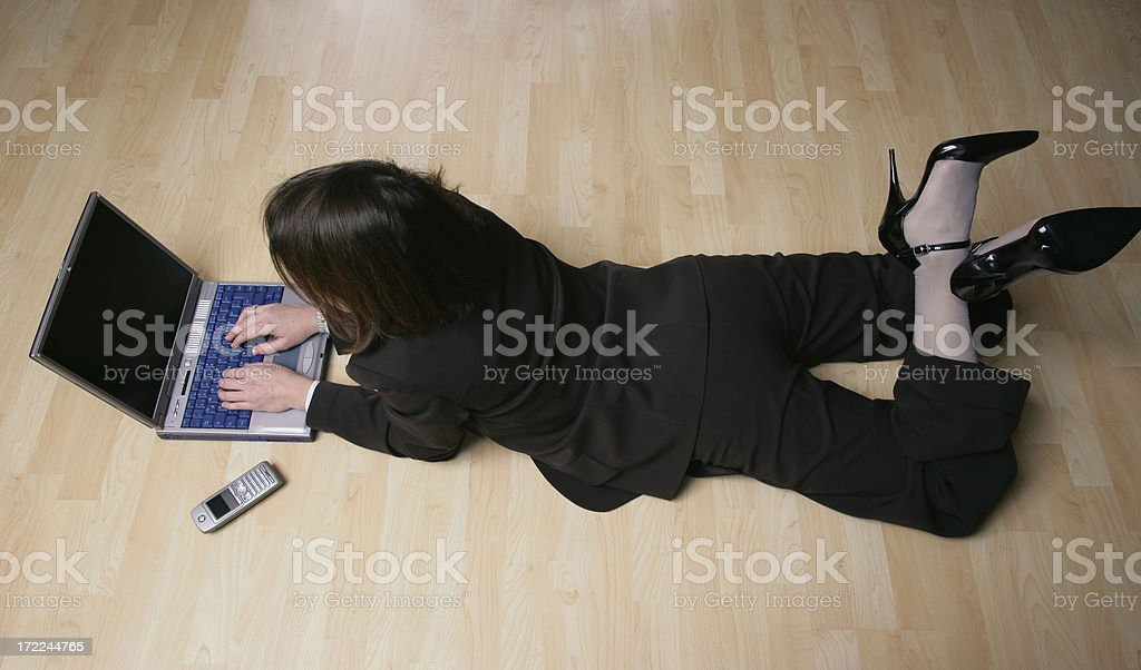 laptop lying woman 02 royalty-free stock photo
