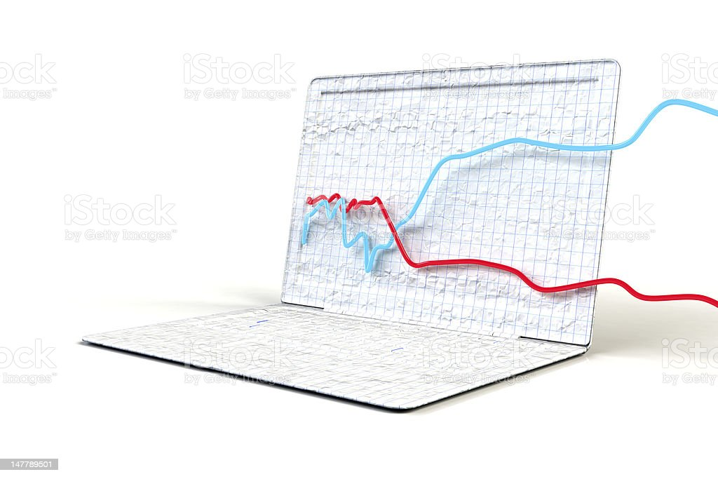 Laptop made of graph paper stock photo