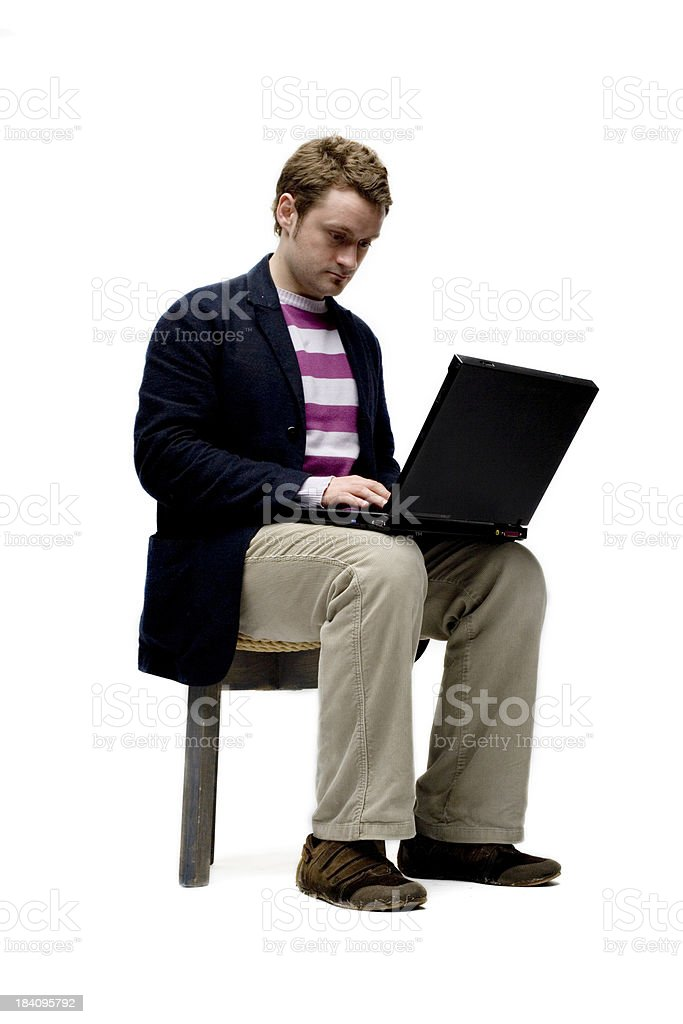 Laptop Man Angled royalty-free stock photo