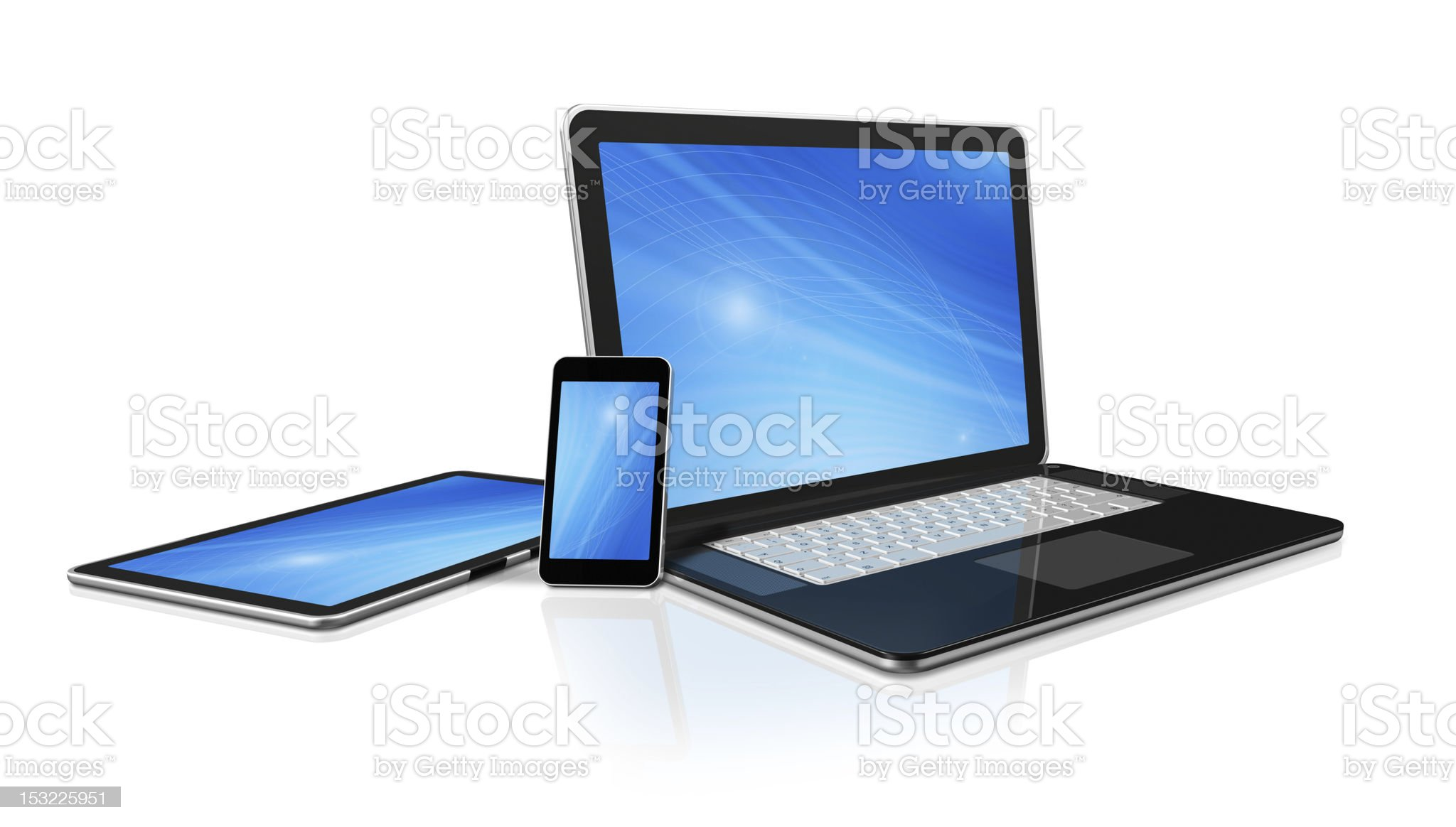 laptop, mobile phone and digital tablet pc computer royalty-free stock photo