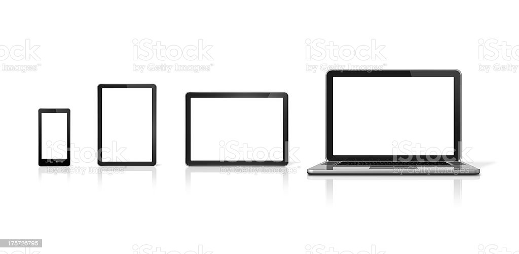 Laptop, mobile phone and digital tablet pc stock photo