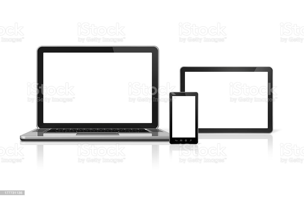 Laptop, mobile phone and digital tablet pc royalty-free stock photo