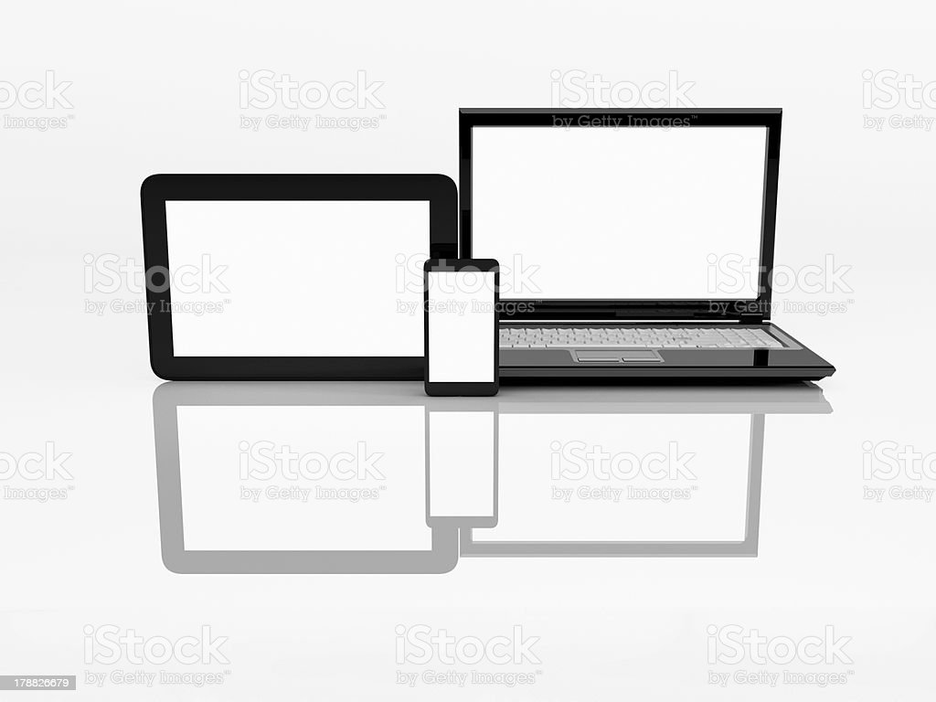 Laptop, mobile phone and tablet pc. 3d royalty-free stock photo