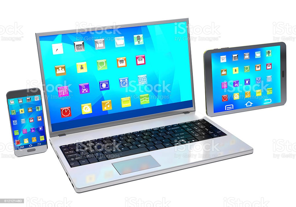 Laptop, mobile phone and tablet pc  on white background. stock photo