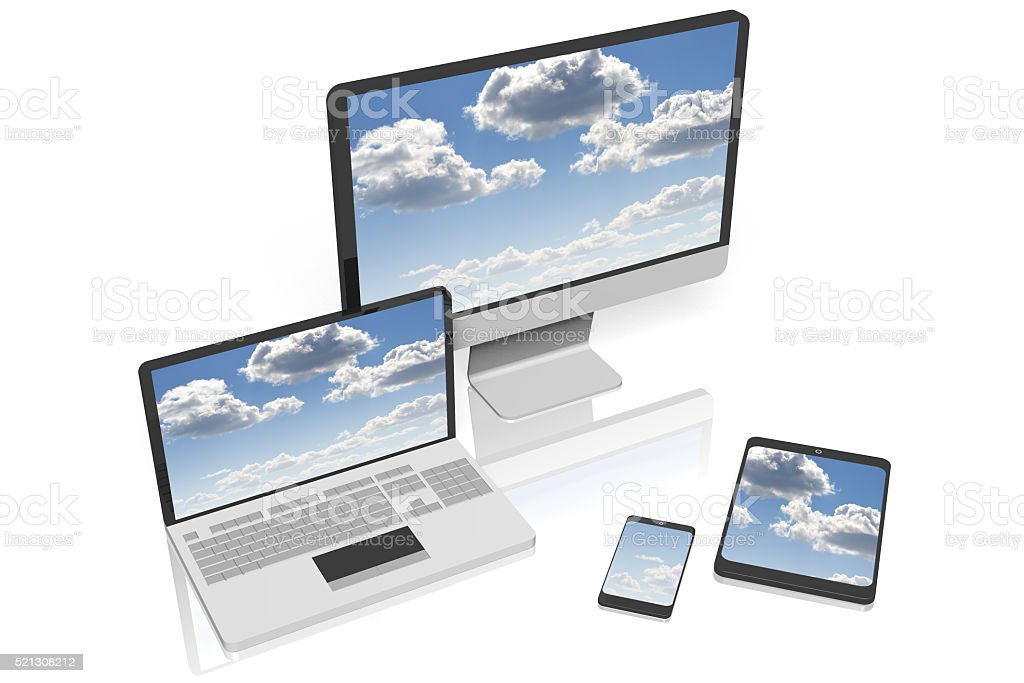 Laptop, monitor/ PC-computer, smartphone, tablet stock photo