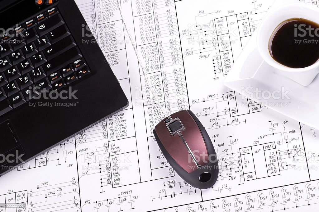 Laptop, mouse and cup of coffee royalty-free stock photo