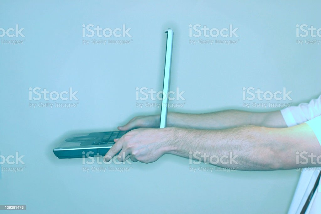 laptop offering royalty-free stock photo