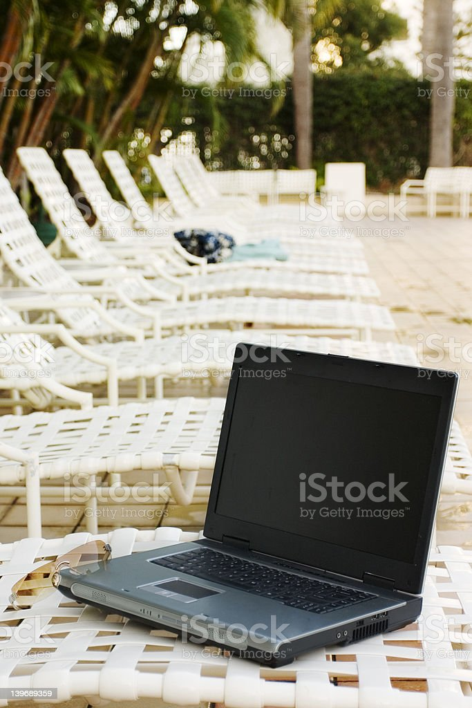 Laptop on a Vacation royalty-free stock photo