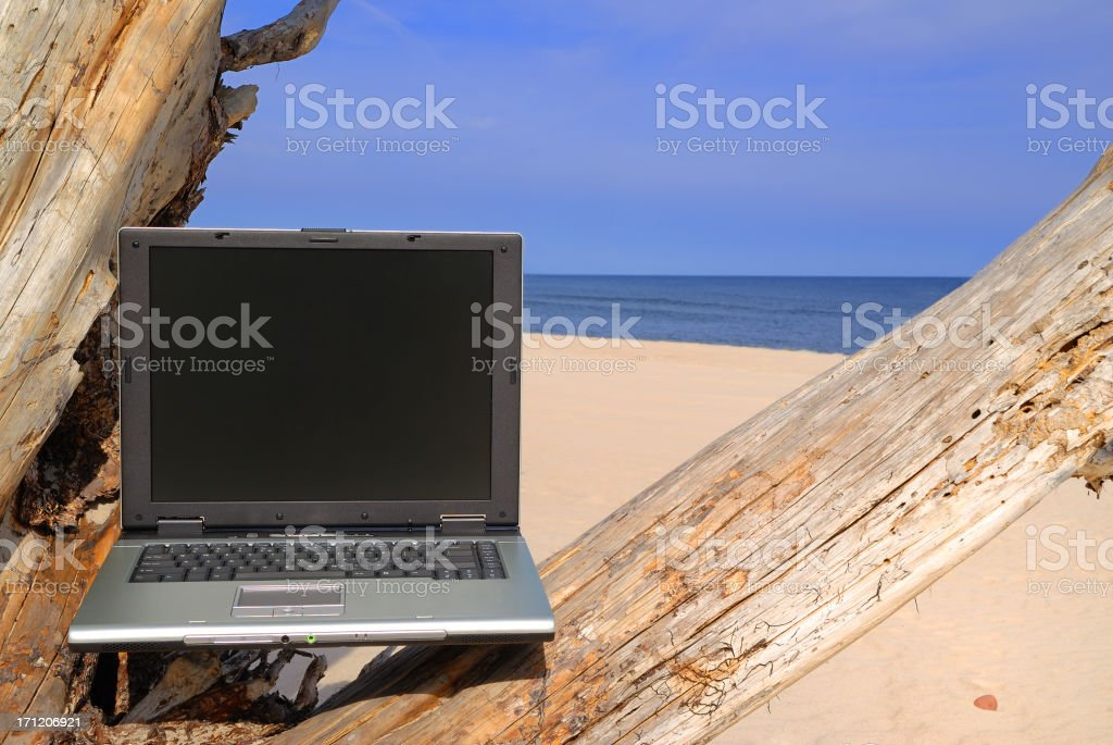 Laptop on the beach royalty-free stock photo