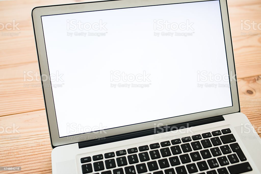 Laptop on the desk stock photo