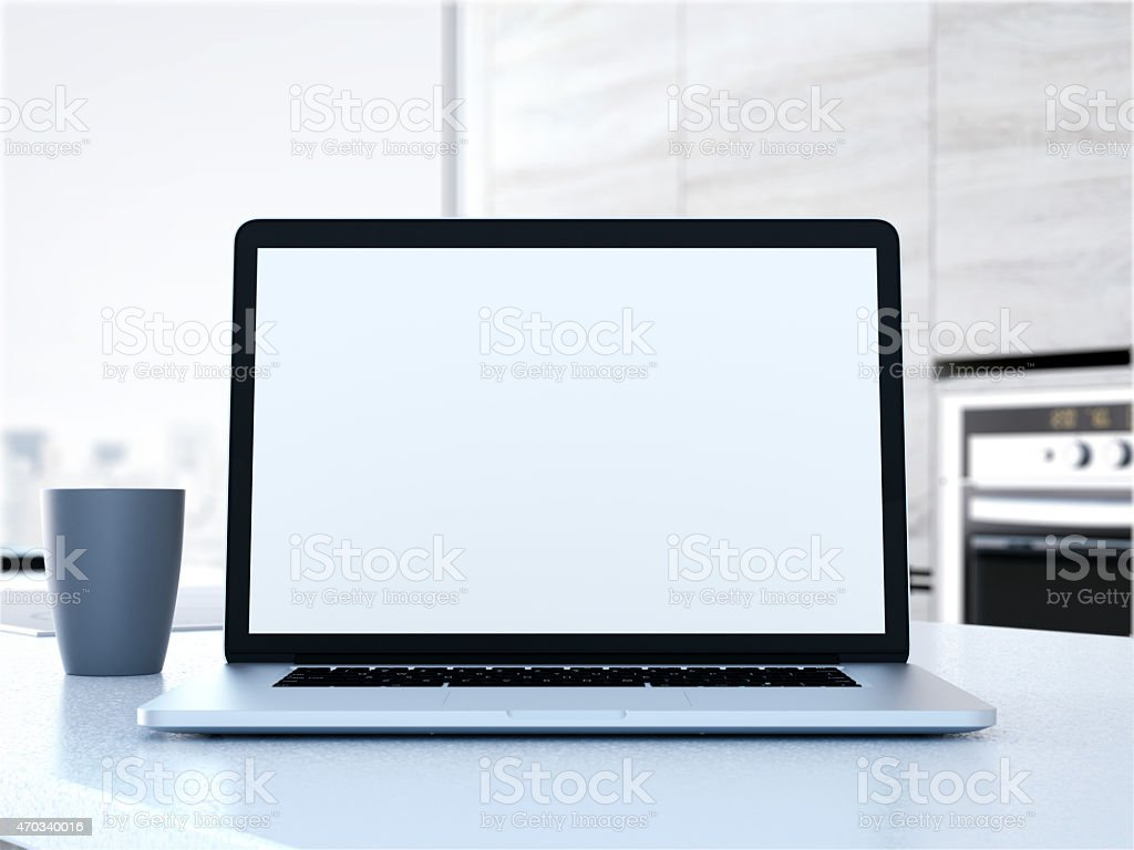 Laptop on the table. 3d rendering stock photo