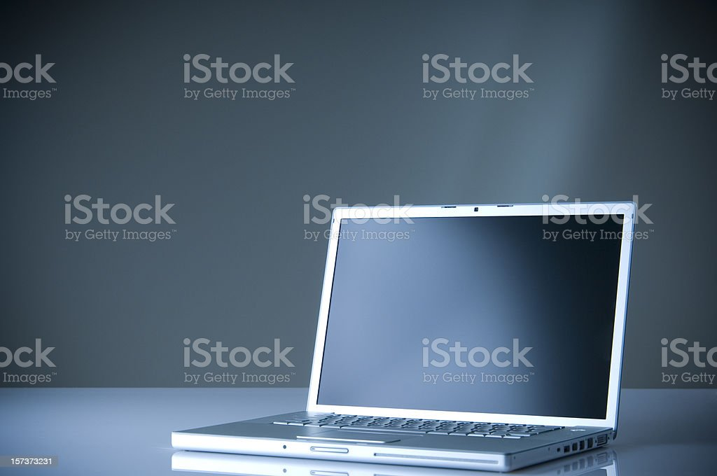 Laptop on the table stock photo