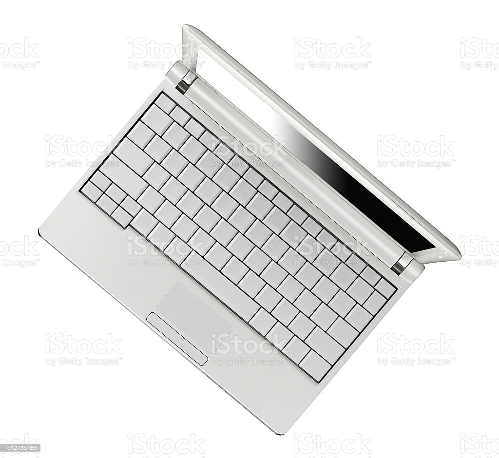 Laptop on white background stock photo