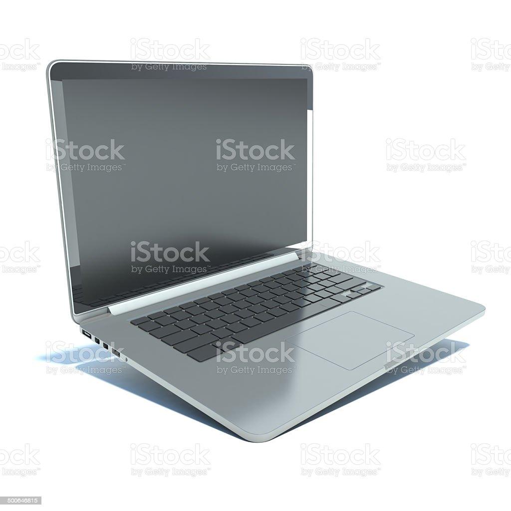 Laptop on white isolated background stock photo