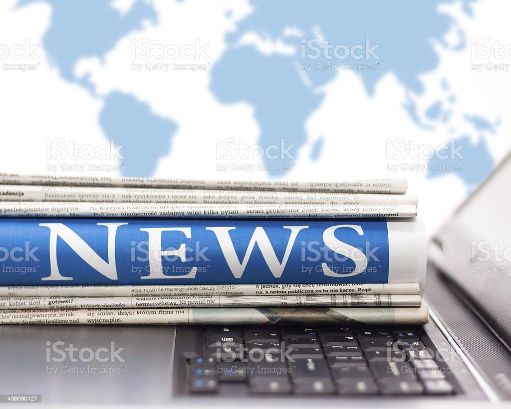 Laptop online news. stock photo