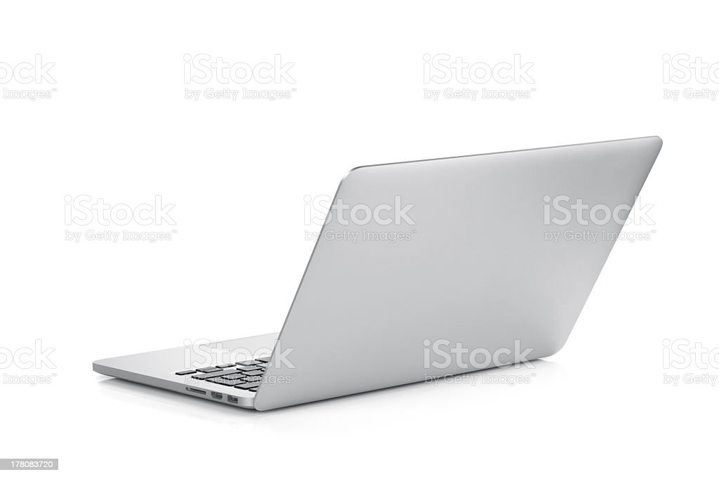 A laptop open against a white background stock photo