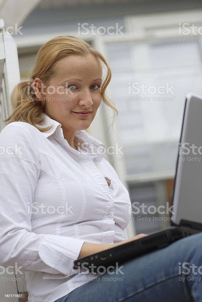 Laptop outside royalty-free stock photo