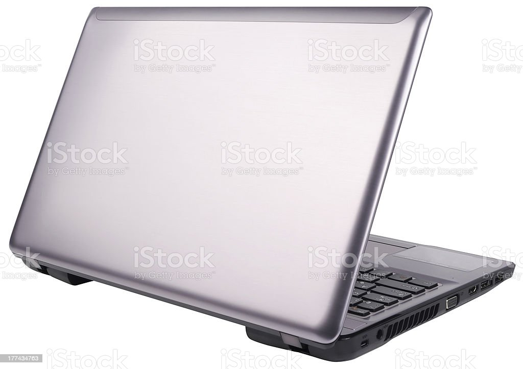 Laptop rear view isolated royalty-free stock photo