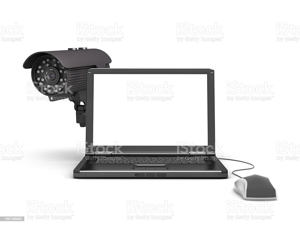 Laptop, security camera and computer mouse royalty-free stock photo