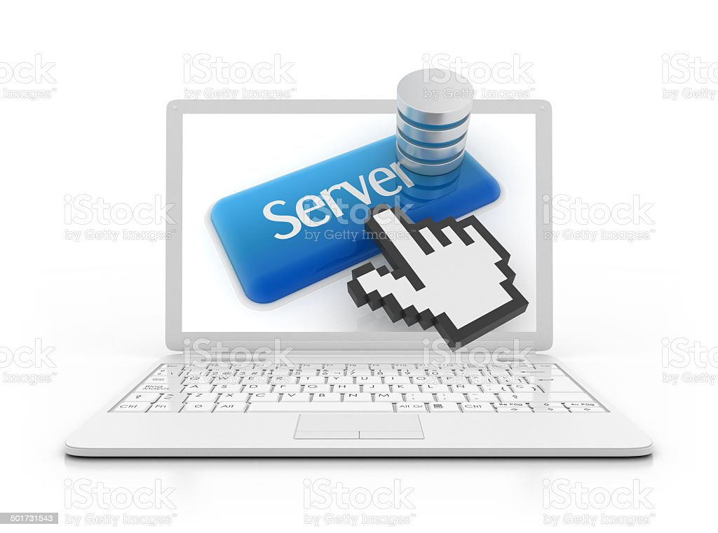 Laptop - Server button with data base concept stock photo
