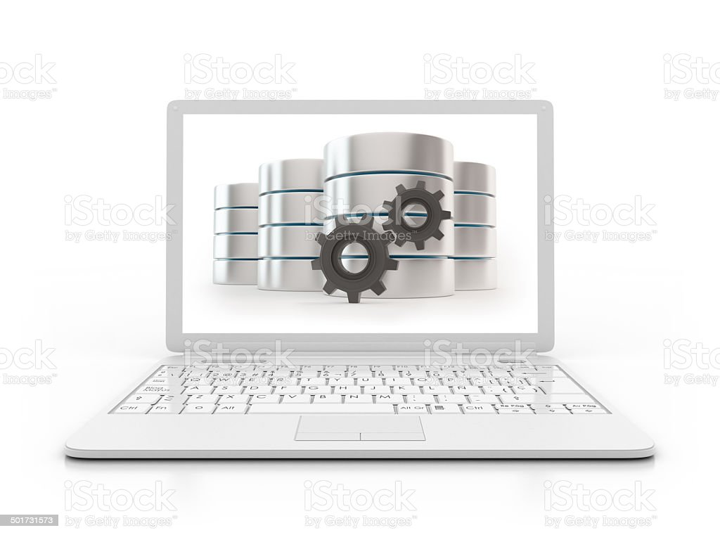 Laptop - Server with gears, data base concept stock photo