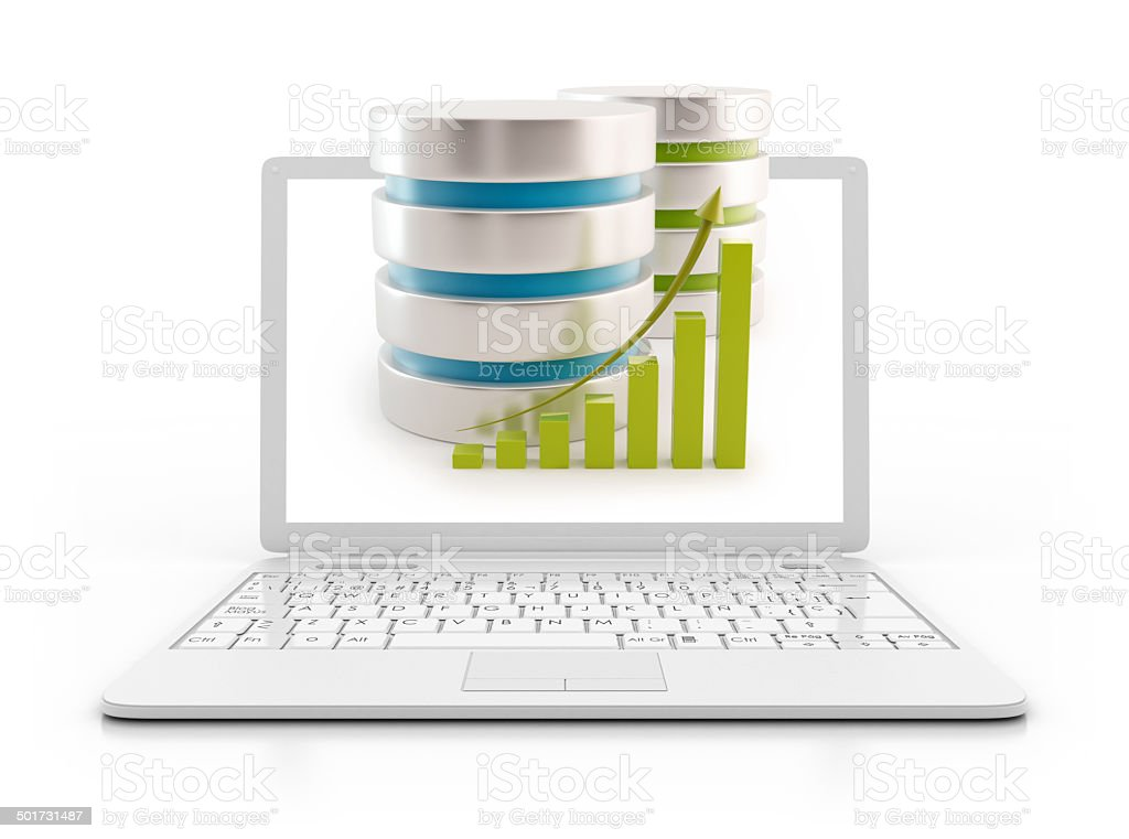 Laptop - server with height chart, data base concept stock photo