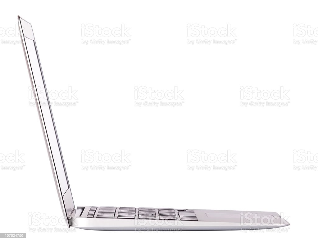 Laptop side view. Isolated stock photo