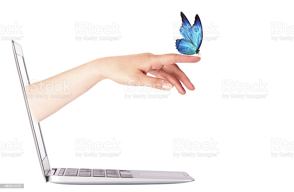 Laptop side view with  butterfly on hand stock photo