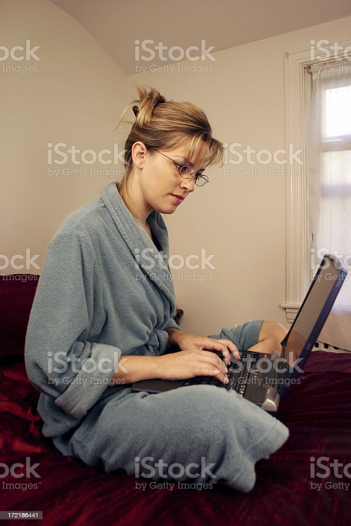 Laptop Sitting on Bed royalty-free stock photo