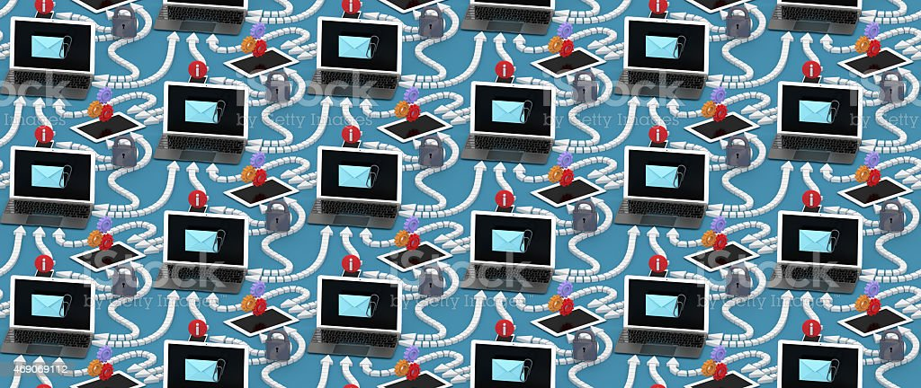 Laptop, smartphone and tablet sharing data, repeat-x, repeat-y pattern. stock photo