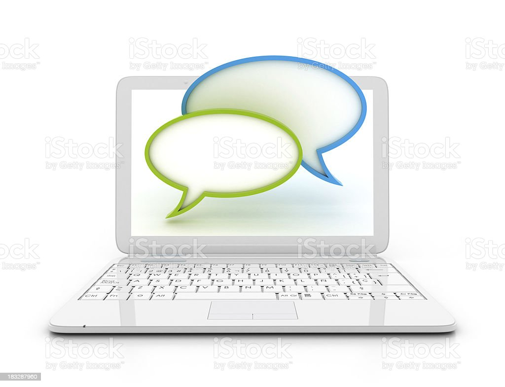 Laptop -  Speech bubble royalty-free stock photo