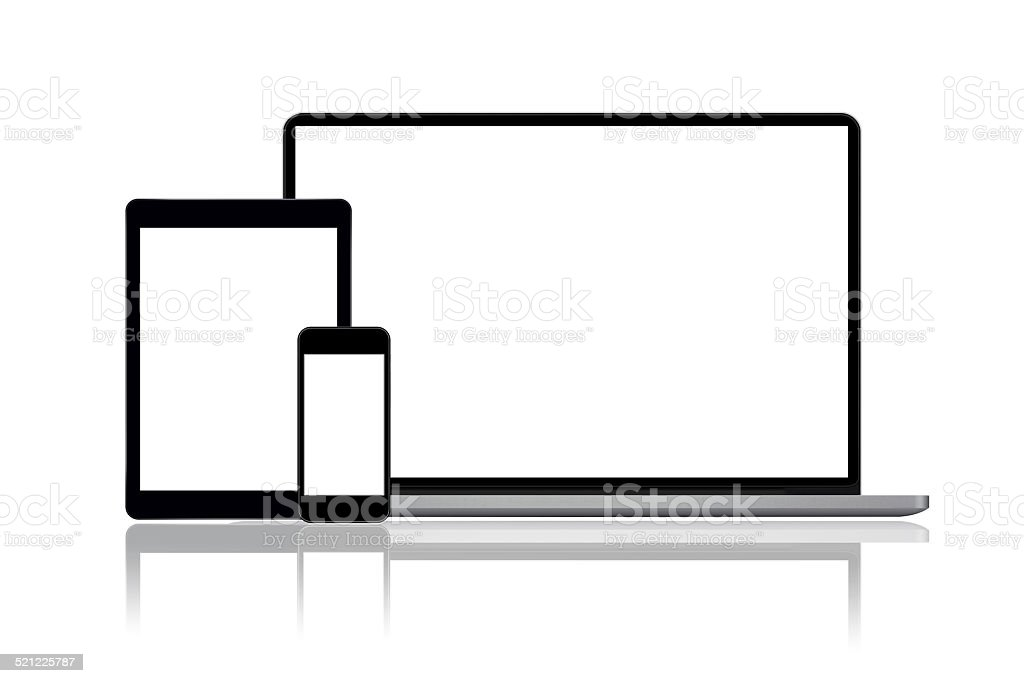 Laptop, tablet and smartphone stock photo