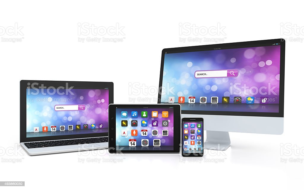 laptop, tablet, desktop, smartphone, app screen stock photo