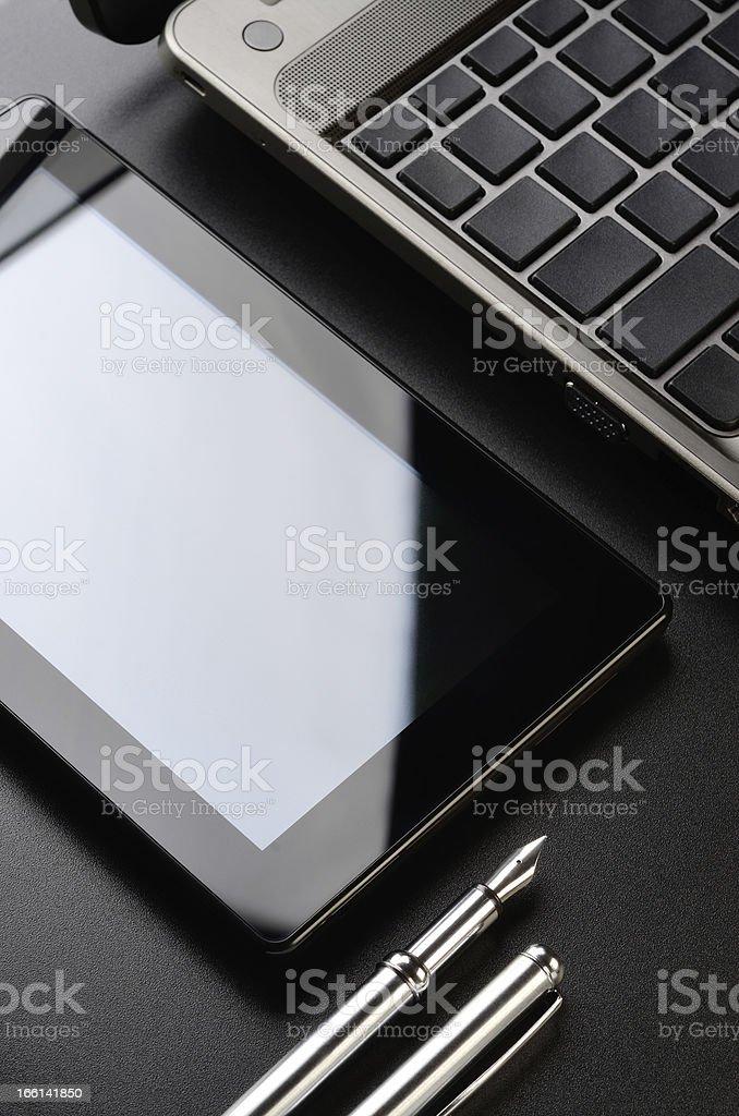 Laptop, tablet, fountain pen royalty-free stock photo