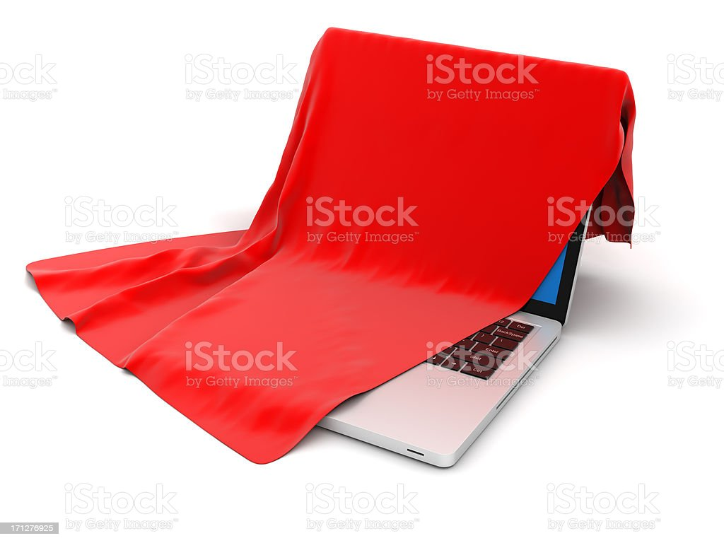 Laptop under cover stock photo