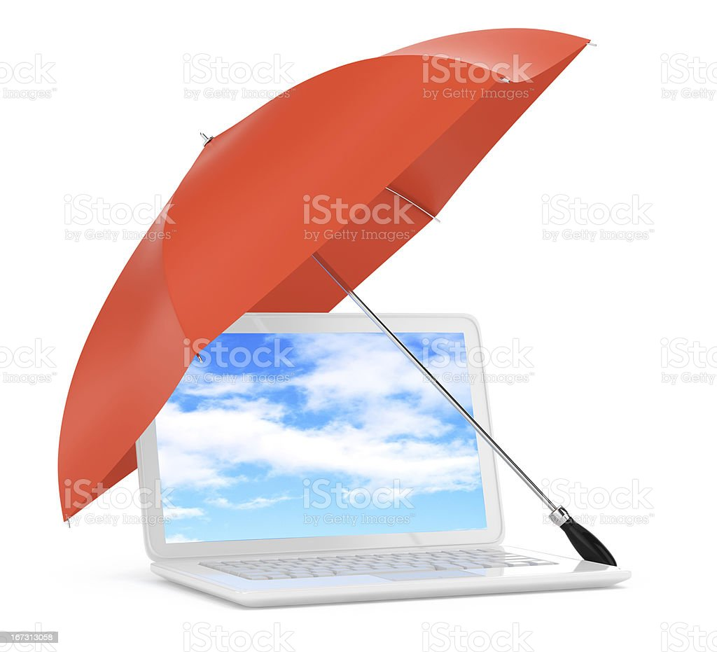 laptop under umbrella royalty-free stock photo