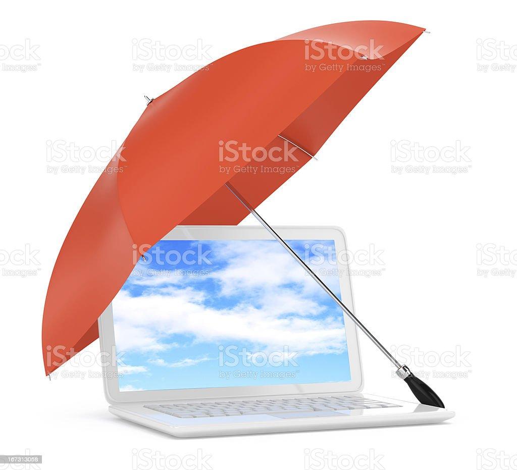 laptop under umbrella stock photo