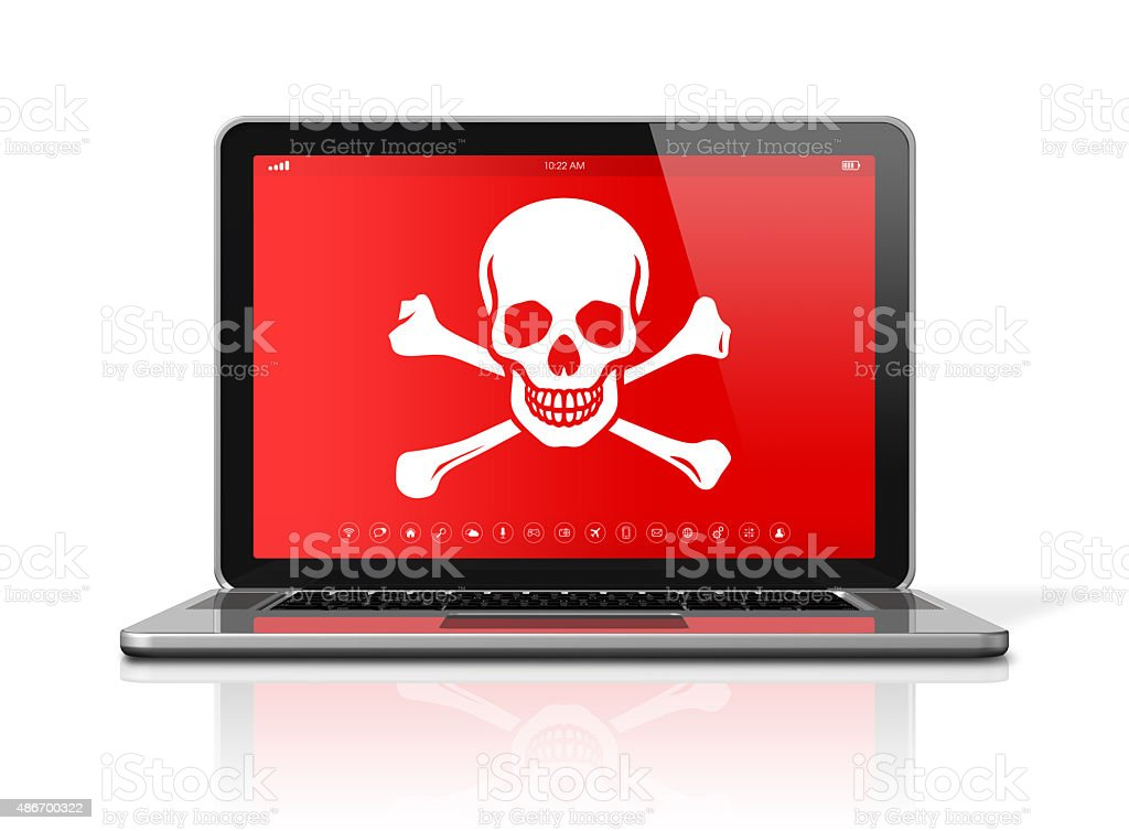 Laptop with a pirate symbol on screen. Hacking concept stock photo