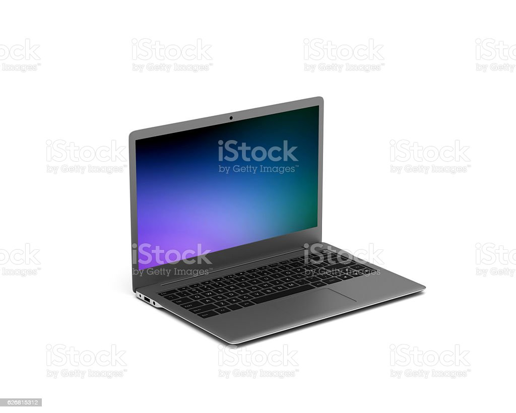 Laptop With Abstract Screensaver Isolated On White Background stock photo